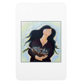 Lady with Basket of Fish. Rectangular Photo Magnet