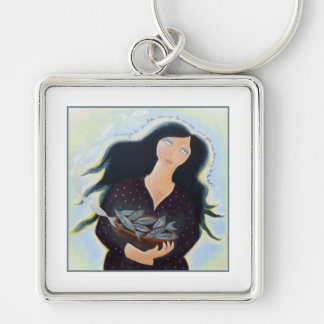 Lady with Basket of Fish. Silver-Colored Square Keychain