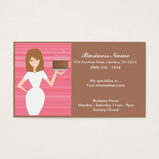 Lady with BDay Cake Business Cards