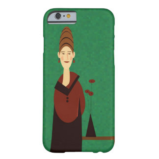 Lady with beehive hairdo and vase of flowers barely there iPhone 6 case
