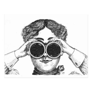 Lady With Binoculars Postcards