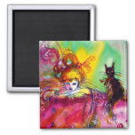 LADY WITH BLACK CAT 2 INCH SQUARE MAGNET