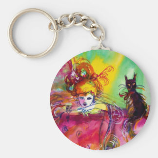 LADY WITH BLACK CAT BASIC ROUND BUTTON KEYCHAIN