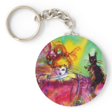 Halloween Themed LADY WITH BLACK CAT KEYCHAIN