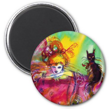 Halloween Themed LADY WITH BLACK CAT MAGNET