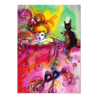 LADY WITH BLACK CAT /Mardi Gras  Masquerade Party Card