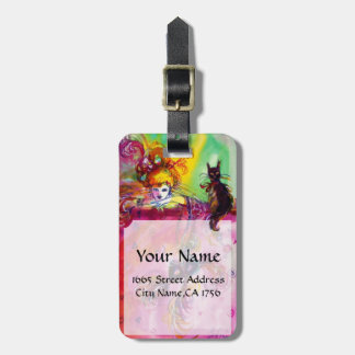 LADY WITH BLACK CAT /Mardi Gras  Masquerade Party Luggage Tag