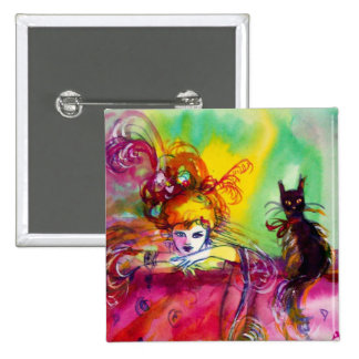 LADY WITH BLACK CAT /Mardi Gras  Masquerade Party Pinback Button