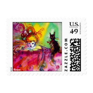 LADY WITH BLACK CAT / Mardi Gras Masquerade Party Stamps