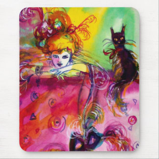 LADY WITH BLACK CAT MOUSE PAD