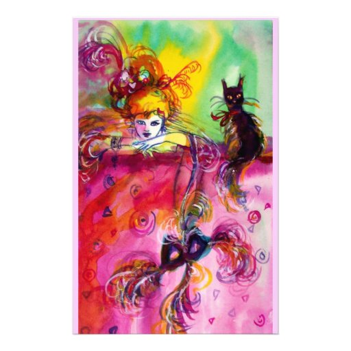 LADY WITH BLACK CAT STATIONERY DESIGN