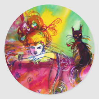 LADY WITH BLACK CAT / Venetian Masquerade Classic Round Sticker