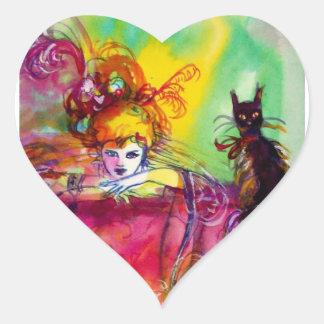 LADY WITH BLACK CAT / Venetian Masquerade Heart Heart Sticker