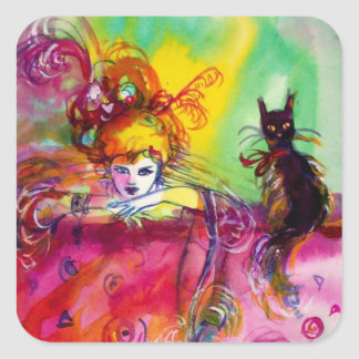 LADY WITH BLACK CAT / Venetian Masquerade Square Sticker