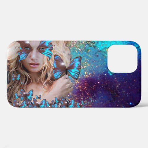 LADY WITH BLUE BUTTERFLY FLORAL GOLD SPARKLES iPho Phone Case