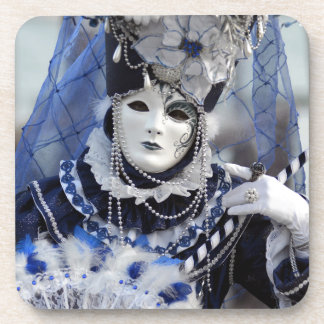 Lady With Blue Carnival Costume and White Mask Coaster