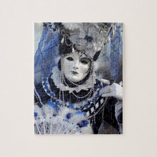Lady With Blue Carnival Costume Jigsaw Puzzle