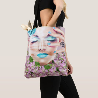 Lady With Blue Makeup Eyes Closed Dreaming Flowers Tote Bag