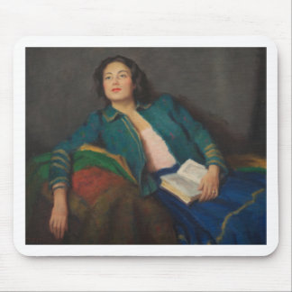 Lady with Book Mouse Pad