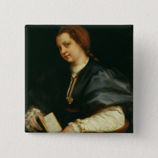 Lady with Book of Verse by Petrarch, c.1514 (oil o Pinback Button