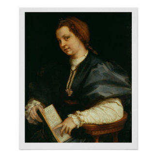 Lady with Book of Verse by Petrarch, c.1514 (oil o Poster