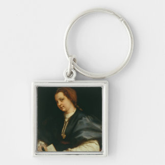 Lady with Book of Verse by Petrarch, c.1514 (oil o Silver-Colored Square Keychain