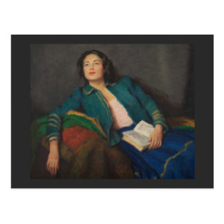 Lady with Book Postcard