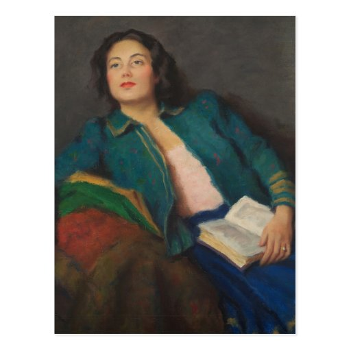 Lady with Book Postcards