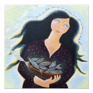 Lady with Bowl of Fish. Card
