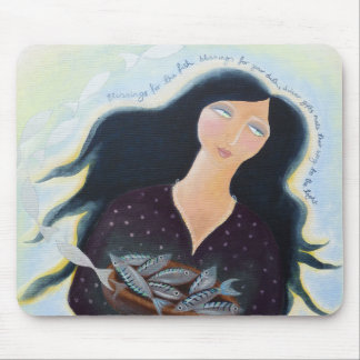 Lady with Bowl of Fish. Mouse Pad