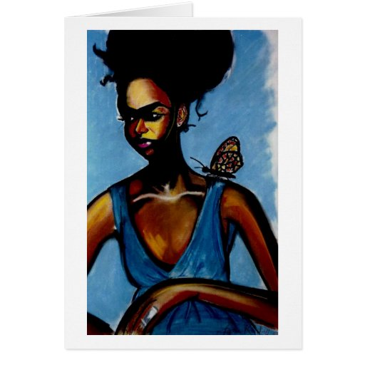 Lady With Butterfly Greeting Card