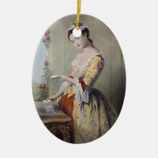 Lady with Cards Double-Sided Oval Ceramic Christmas Ornament