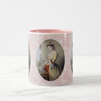 Lady with Cards Two-Tone Coffee Mug