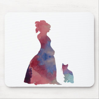 Lady with cat mouse pad