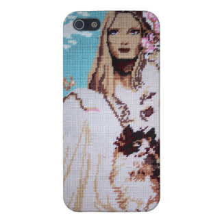Lady with Cat  Savvy iPhone 5 Glossy Finish Case