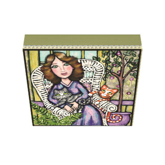 Lady With Cats Gallery Wrapped Canvas Print