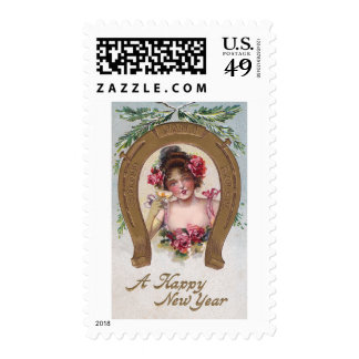 Lady with Champagne Antique New Year Postage