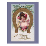Lady with Champagne Antique New Year Postcard