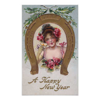 Lady with Champagne Antique New Year Poster
