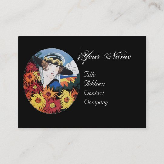 Lady With Chrysanthemum Flowers Business Card