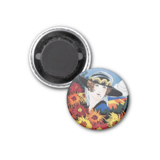 Lady with Chrysanthemum Flowers 1 Inch Round Magnet