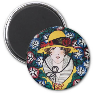 Lady with Chrysanthemum Flowers 2 Inch Round Magnet