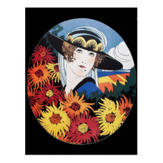 Lady with Chrysanthemum Flowers Post Cards