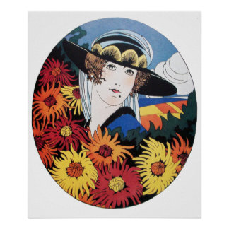 Lady with Chrysanthemum Flowers Poster