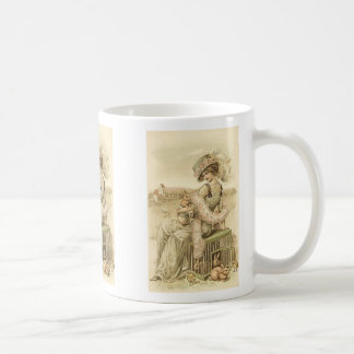 Lady with eggs and rabbits coffee mug