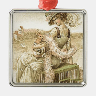 Lady with eggs and rabbits metal ornament