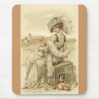 Lady with eggs and rabbits mouse pad