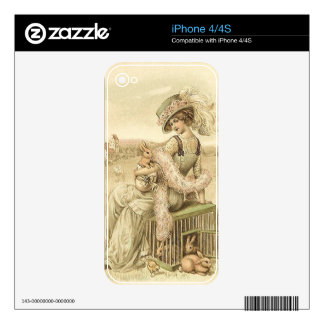 Lady with eggs and rabbits iPhone 4 skins