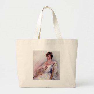 Lady with Fan Bags