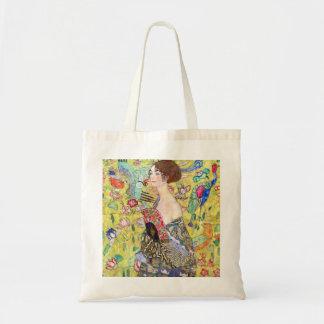 Lady with fan by Gustav Klimt Tote Bags